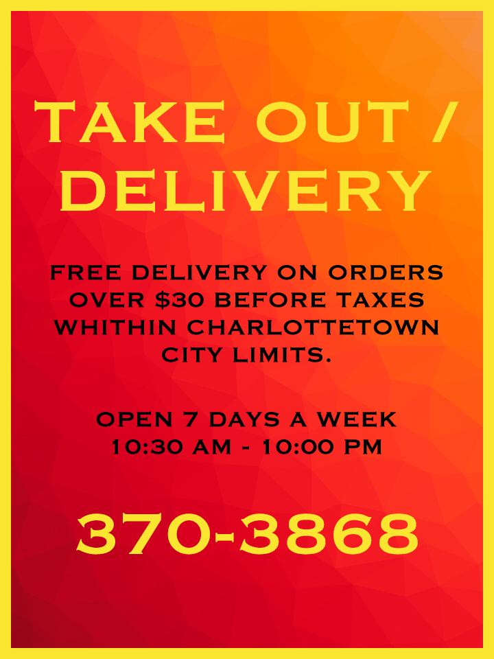Charlottetown Chinese Take Out Delivery 2018